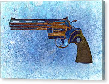 Colt Python 357 Mag On Blue Background. Canvas Print