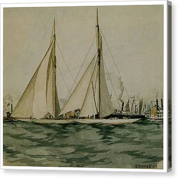 Columbia And Shamrock  America's Cup Canvas Print by Edward Hopper