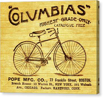 Canvas Print featuring the mixed media Columbia Bicycle Vintage Poster On Wood by Dan Sproul