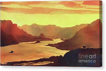 Canvas Print featuring the painting Columbia Gorge Scenery by Ryan Fox