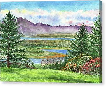 Columbia River Gorge State Of Washington Watercolor Canvas Print