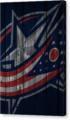 Columbus Blue Jackets Wood Fence Canvas Print by Joe Hamilton