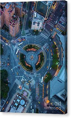 Air Travel Canvas Print - Columbus Circle by Inge Johnsson