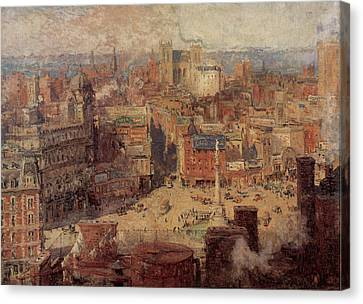 Columbus Circle New York Canvas Print by Colin Campbell Cooper