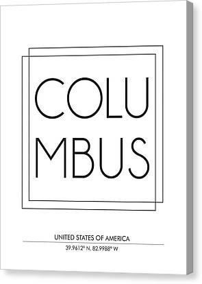 Columbus City Print With Coordinates Canvas Print