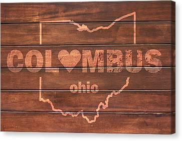 Columbus Heart Wording With Ohio State Outline Painted On Wood Planks Canvas Print by Design Turnpike