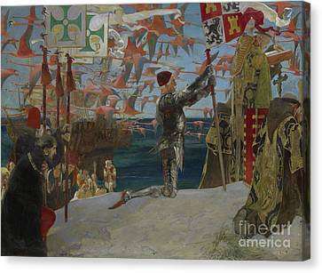 Columbus In The New World Canvas Print by Edwin Austin Abbey
