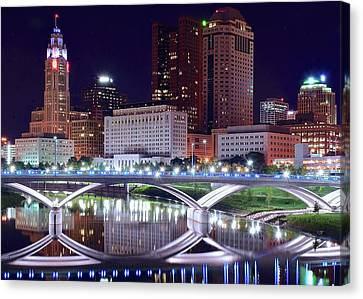 Marvelous View Canvas Print - Columbus Night On The Scioto River by Frozen in Time Fine Art Photography