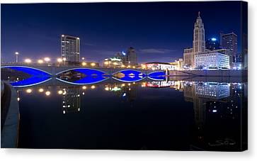 Columbus Oh Blue Bridge Reflections Canvas Print