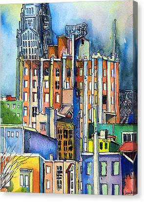 Columbus Ohio City Lights Canvas Print by Mindy Newman