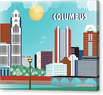Columbus Ohio Horizontal Skyline Canvas Print by Karen Young