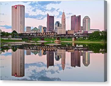 Reflecting Water Canvas Print - Columbus Ohio Reflects by Frozen in Time Fine Art Photography