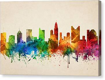 Columbus Ohio Skyline 05 Canvas Print by Aged Pixel