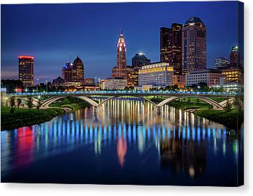 Canvas Print featuring the photograph Columbus Ohio Skyline At Night by Adam Romanowicz