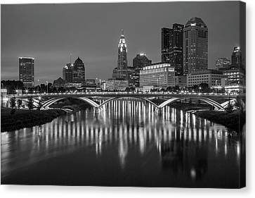 Columbus Ohio Skyline At Night Black And White Canvas Print
