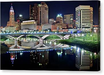Columbus Over The Scioto Canvas Print by Frozen in Time Fine Art Photography