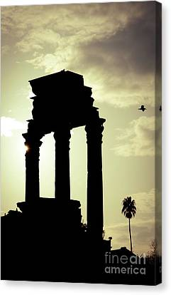 Column Sunset Temple Of Castor And Pollux In The Forum Rome Italy Canvas Print by Andy Smy