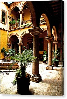 Columns And Courtyard Canvas Print by Mexicolors Art Photography