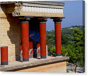 Canvas Print featuring the photograph Columns Of Knossos Greece by Nancy Bradley
