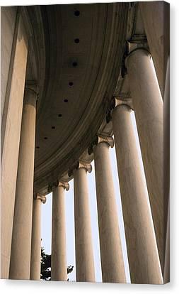 Columns Surround The Jefferson Statue Canvas Print by Rex A. Stucky
