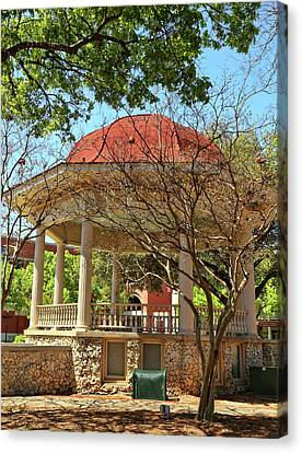 Comal County Gazebo In Main Plaza Canvas Print