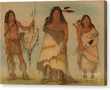 Comanche Canvas Print - Comanche Chief, His Wife And A Warrior, 1861 by George Catlin