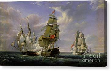 Warship Canvas Print - Combat Between The French Frigate La Canonniere And The English Vessel The Tremendous by Pierre Julien Gilbert