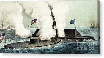 Combat Between The Monitor And The Merrimac During The Civil War Canvas Print