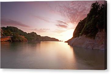 Combe Martin Sunset Canvas Print by Michael Stretton