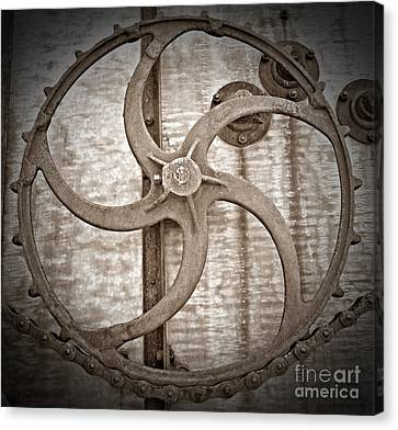 Canvas Print - Combine Gear Sepia by Chalet Roome-Rigdon
