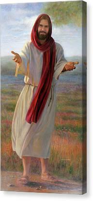 Smiling Jesus Canvas Print - Come Unto Me Full-length by Nancy Lee Moran