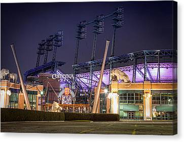 Comerica Park At Night Canvas Print by Matthew Harper