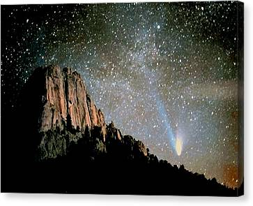Canvas Print featuring the photograph Comet Hale-bopp by Perspective Imagery