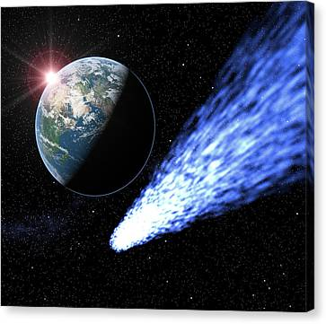 Comet Passing Near Earth Canvas Print by Roger Harris