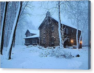 Log Cabin Canvas Print - Comfort From The Cold by Kristin Elmquist