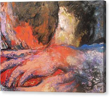 Canvas Print featuring the painting Comforting Embrace by Koro Arandia