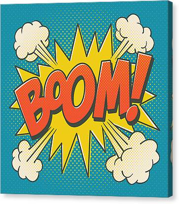 Comic Boom On Blue Canvas Print
