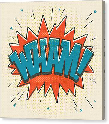Comic Wham On White Canvas Print by Mitch Frey