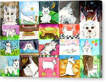 Comical Westie Canvas Print by Mindy Newman