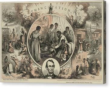 Race Discrimination Canvas Print - Commemoration Of The Emancipation by Everett