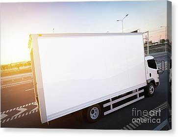 Fast Shipping Canvas Print - Commercial Cargo Delivery Truck With Blank White Trailer Driving On Highway by Michal Bednarek