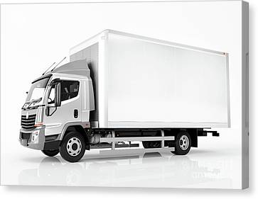Fast Shipping Canvas Print - Commercial Cargo Delivery Truck With Blank White Trailer. Generic, Brandless Design. by Michal Bednarek