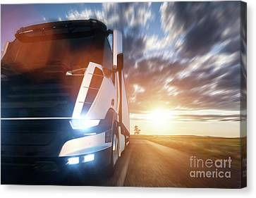 Fast Shipping Canvas Print - Commercial Cargo Delivery Truck With Trailer Driving On Highway At Sunset. by Michal Bednarek