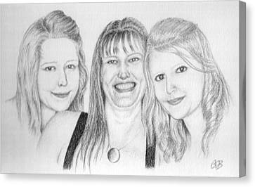 Commission - Michelle And Her Daughters Canvas Print by Conor OBrien