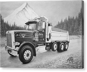 Gravel Road Canvas Print - Commissioned Peterbilt Truck by Rita Niblock