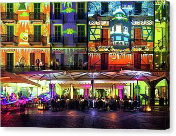 Como Illuminated In Christmas Time With Artistic Lights, Lombard Canvas Print