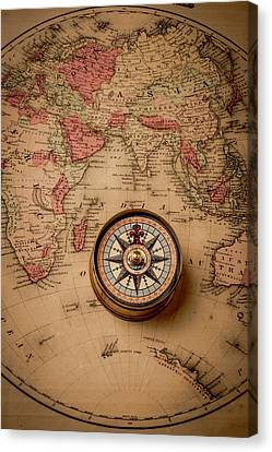 Compass And Europe Canvas Print