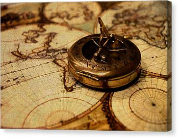 Compass On Vintage Old Map Of The World Canvas Print by Design Turnpike