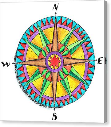 Compass Rose Canvas Print by Jennifer Thermes