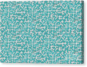 Complex Maze In Green And White Colors Canvas Print